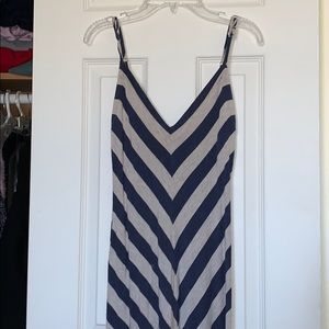 Blue diagonal stripped maxi dress